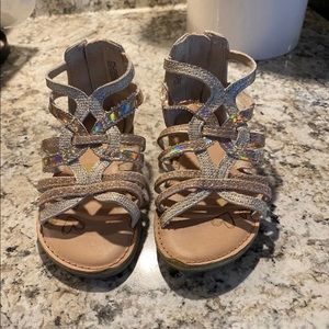 Toddler Girls Silver/Gold Sandals Size 9